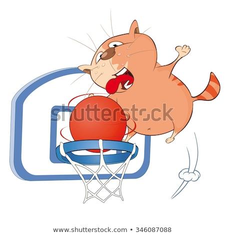 Rajz mosolyog kosárlabdázó kiscica labda Stock fotó © cthoman