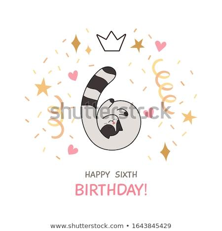 Cartoon 6th Birthday Stock photo © cthoman