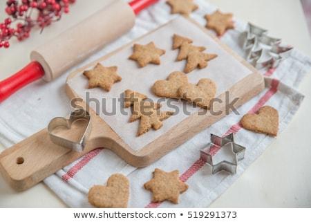 raw christmas cookies closeup stock photo © oleksandro