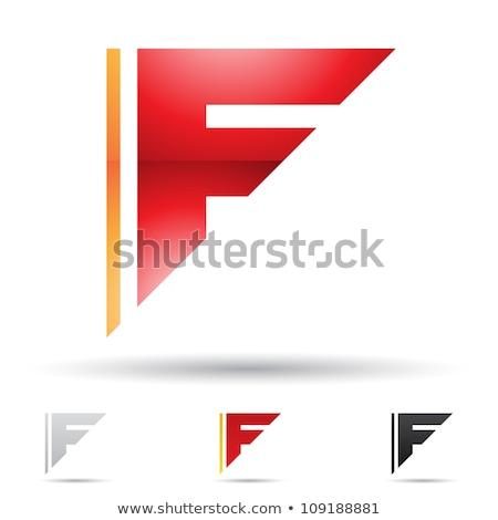 Orange Glossy Geometrical Letter F Vector Illustration Stock photo © cidepix