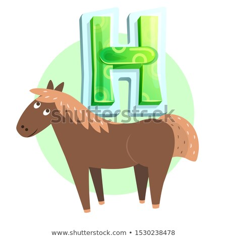H Consonant Demonstration with Horse Character Stock photo © robuart
