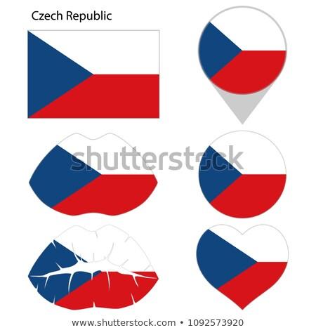Tsjechische Republiek vlag vierkante frame illustratie ontwerp Stockfoto © colematt