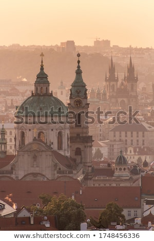 aerial view of prague landmarks at early morning stock photo © taiga