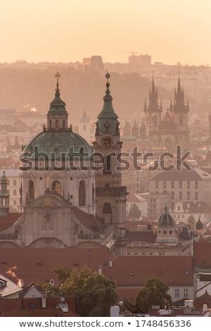 Aerial view of Prague landmarks at early morning Stock photo © Taiga