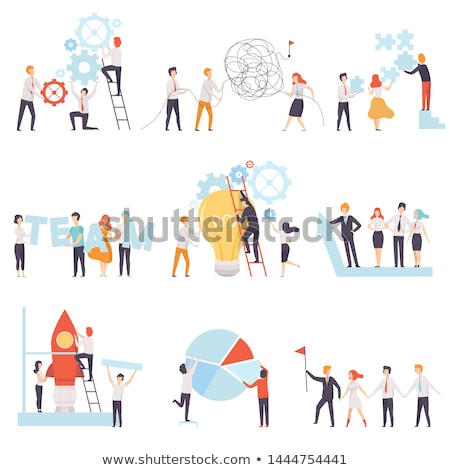 achieve goal presentation set vector illustration foto stock © robuart