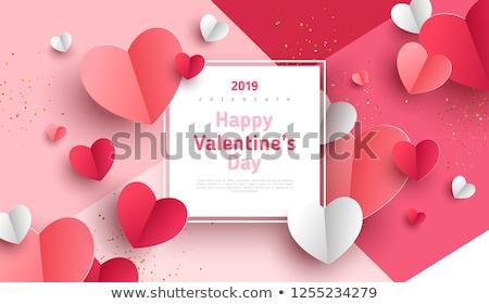 san · valentino · carta · modello · rosa · cuori · felice - foto d'archivio © cienpies
