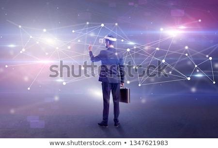 Işadamı gözlük bağlantı müdür kulaklık sosyal ağ Stok fotoğraf © ra2studio