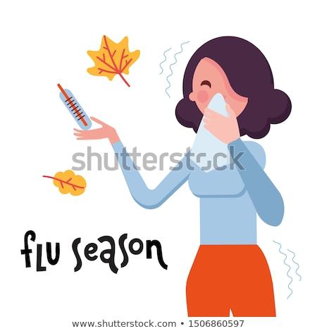 Saisonabhängig Grippe krank Frau kalten Ärzte Stock foto © RAStudio