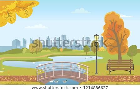 Autunno città parco stagno ponte legno Foto d'archivio © robuart