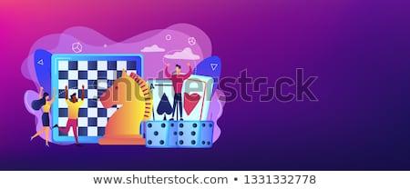 Gra planszowa banner rozrywki malutki ludzi Zdjęcia stock © RAStudio