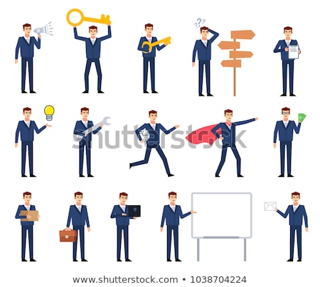 set of character businessman employee with suitcase in different situations poses vector stock photo © marysan