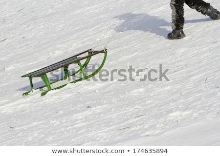 Peu garçon escalade neige colline hiver Photo stock © dolgachov