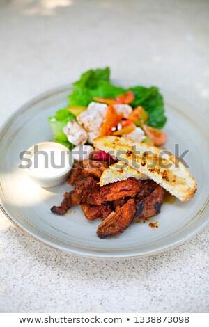 Tofu tomates salada legumes tabela verde Foto stock © dashapetrenko