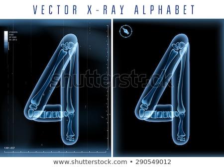 прозрачный Xray числа четыре 3D 3d визуализации Сток-фото © djmilic