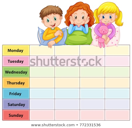 Seven days of the week table with kids in pajamas Stock photo © colematt