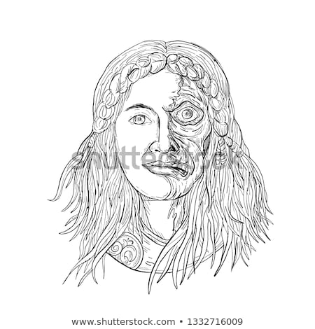 Norse Goddess Hel Face Front Drawing Black and White Stock photo © patrimonio