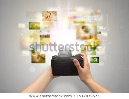 kéz · elemlámpa · tart · izolált · fehér · háttér - stock fotó © ra2studio