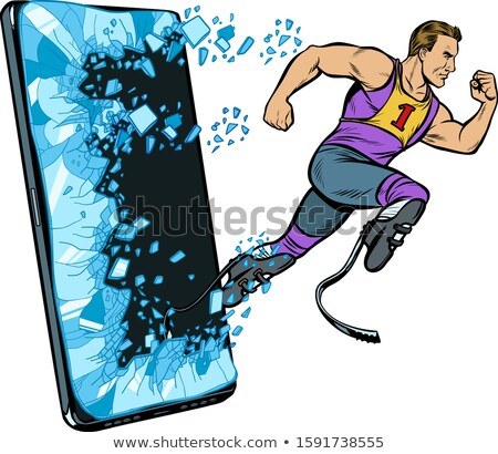legless male athlete running with a prosthetic Phone gadget smartphone. Online Internet application  Stock photo © studiostoks