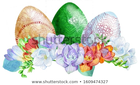 Watercolor Easter colored eggs with freesia and grass. Stock photo © Natalia_1947