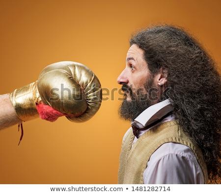 портрет тощий NERD боксерская перчатка geek Новости Сток-фото © konradbak