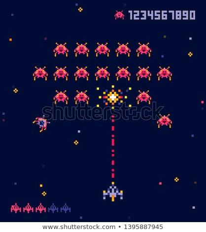 Piksel oyun savaş ufo vektör Stok fotoğraf © robuart