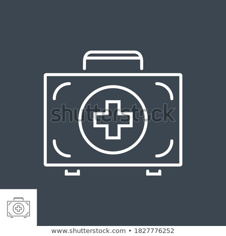First aid kit related vector thin line icon Stock photo © smoki