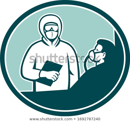 Nurse Treating COVID-19 Patient Oval Retro Stock photo © patrimonio