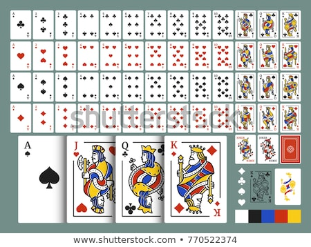Full set of spades suit playing cards with joker isolated on white Stock photo © evgeny89