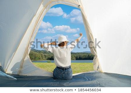 Mulher tenda grama feliz viajar preto Foto stock © photography33