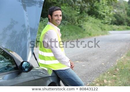 Férfi autó fa út fehér út Stock fotó © photography33