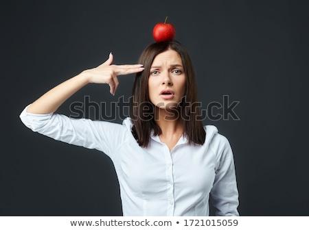 Mulher morder maçã comida casa cadeira Foto stock © photography33