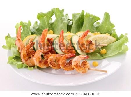 grillés · crevettes · bâton · salade · restaurant · plaque - photo stock © M-studio