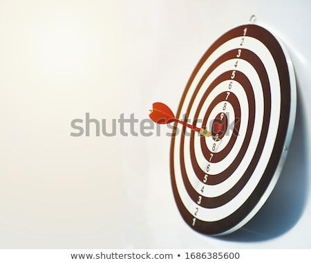 közelkép · piros · darts · cél · izolált · fehér - stock fotó © johanh