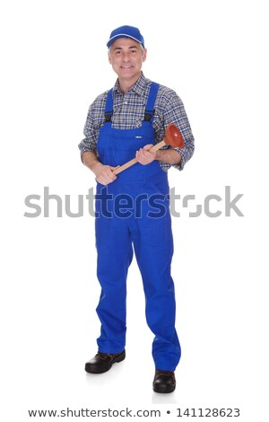 mature plumber holding plunger Stock photo © photography33