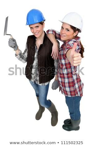 Hazır duvarcılık çalışmak mutlu işçi Stok fotoğraf © photography33