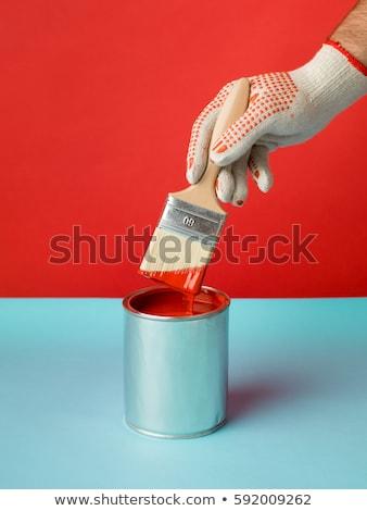 acryl · verf · witte · Blauw · metalen · textuur - stockfoto © winterling