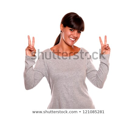 vriendelijk · jonge · vrouw · winnend · houding · Blauw · shirt - stockfoto © pablocalvog