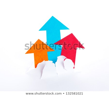 Arrowheads move upward and break paper Stock photo © Ansonstock