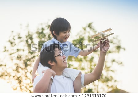 autumn father with son and plane Stock photo © Paha_L