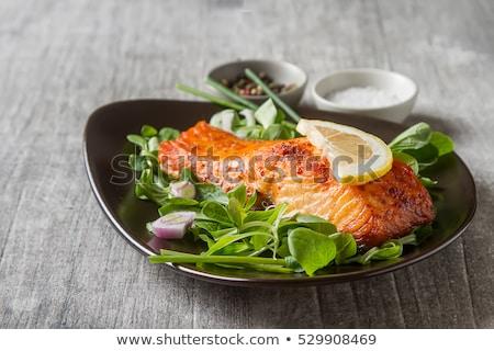 Fresh salmon steaks on the barbecue Stock photo © ozgur
