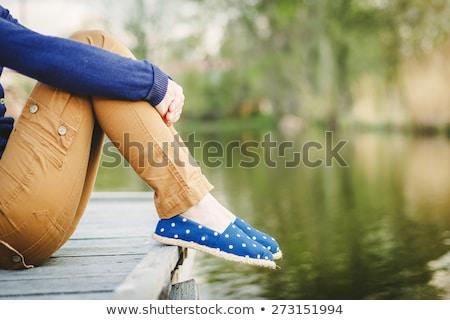 Instagram bağbozumu kadın bacaklar açık Stok fotoğraf © zastavkin