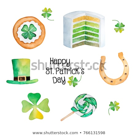 Stock photo: happy St. Patrick's day with horseshoe sign, green drawn banners