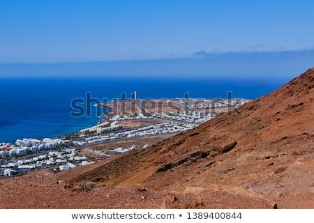 crater view of montana roja in Playa Blanca Stock photo © meinzahn