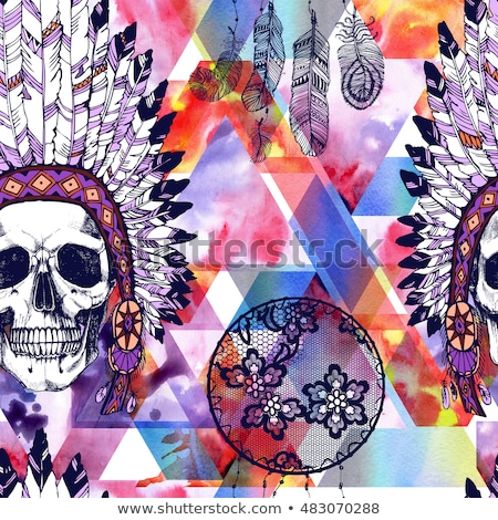 seamless pattern of color american indians dreamcatcher with bir stock photo © elmiko