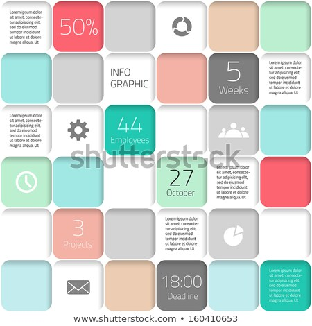 Modern mosaic business card template with flat user interface Stock photo © orson
