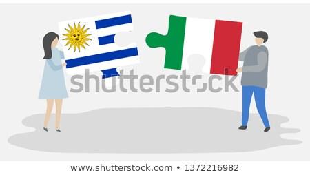 Уругвай Италия флагами головоломки изолированный белый Сток-фото © Istanbul2009
