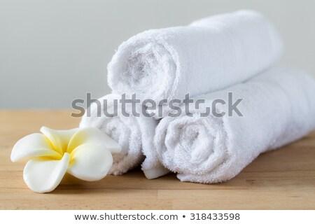 Vermelho branco toalha conjunto tratamento de spa Foto stock © aza