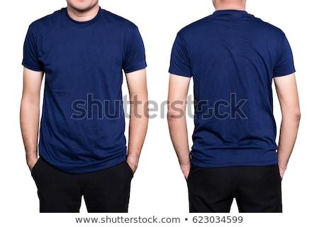 Foto d'archivio: Blu · tshirt · donna · isolato · bianco · primo · piano
