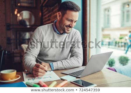 homem · laptop · café · verão · parque · brilhante - foto stock © HASLOO