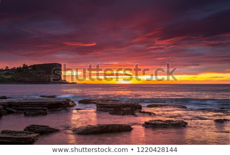 blazing sunrise from avalon beach australia stock photo © lovleah